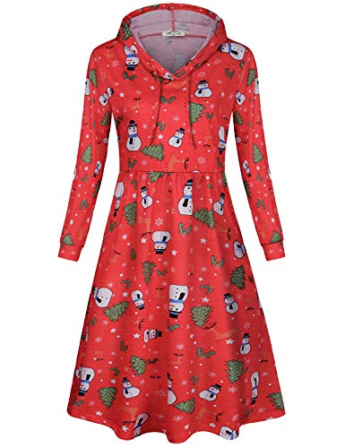SeSe Code Women Dress with Pockets,Ladies Casual T Shirt Swing Midi Dresses with Sleeves Fashionable Unique Party Garment Winter Stretchy Warm Pullover Clothes Red XL