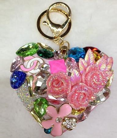 Forma de Corazón Cristal Rhinestones llavero llavero E0361 ...