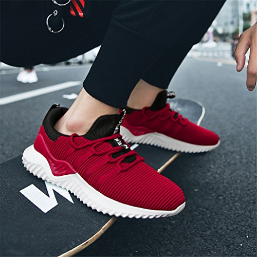 KUBUA White Indoor Outdoor Sport Fashion Mens Sneaker Red and Fitness E Black Shoes Athietic Casual Running r7nRwrpa