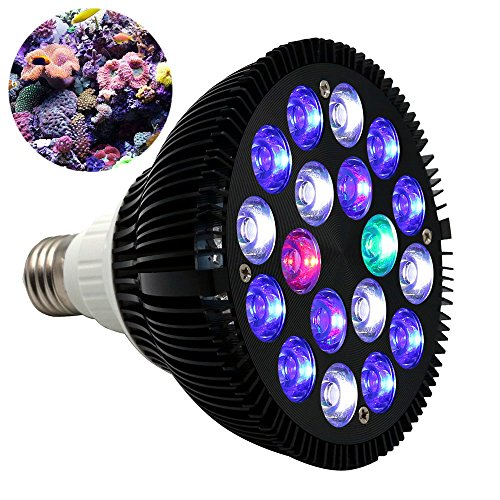 KINGBO 18W LED Aquarium Light Bulb 6-Band Full Spectrum for Fish Tank Coral Reef Fish Nano Tank Plants Growth PAR38 E27