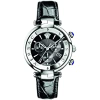 Versace Women's 'REVE' Swiss Quartz Stainless Steel and Leather Casual Watch, Color:Black (Model: VAJ010016)