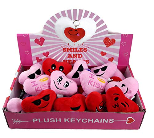 Smiles and Heart Valentine's Emoji Plush Keychains School Kids Party Favors, Box of 24 -