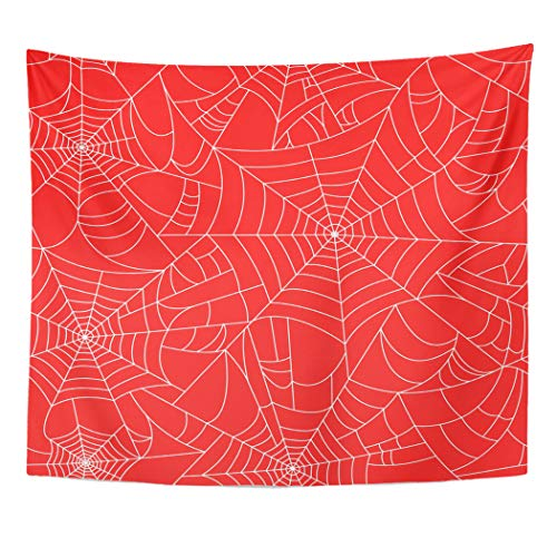 Emvency Tapestry Wall Hanging Spiderweb Halloween Spider with Black Red and White Cobweb Happy Arachnid Bug 50