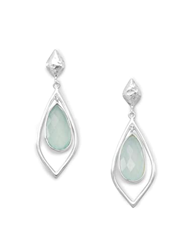 936b21449 Amazon.com: Texture Green Chalcedony Earrings Framed Sterling Silver ...