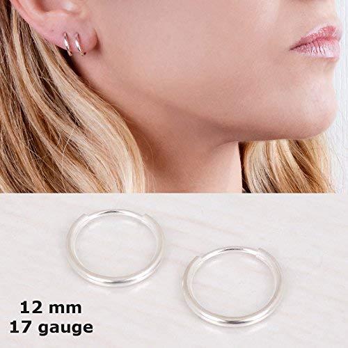 Tiny Sterling SIlver 925 Hoop Earrings - Designer Handmade 12mm Minimal Round Pair of Hoops