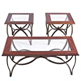 Coffee Table and End Table Set Glass Metal Accent Occasional Table Set 3 PCS