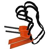 Ezyoutdoor 5 pcs Camping Survival Magnesium Flint Stone Emergency Gear Fire Starter Lighter Kit, Magnesium Fire Starter Flint Stone Lighter Kit orange color