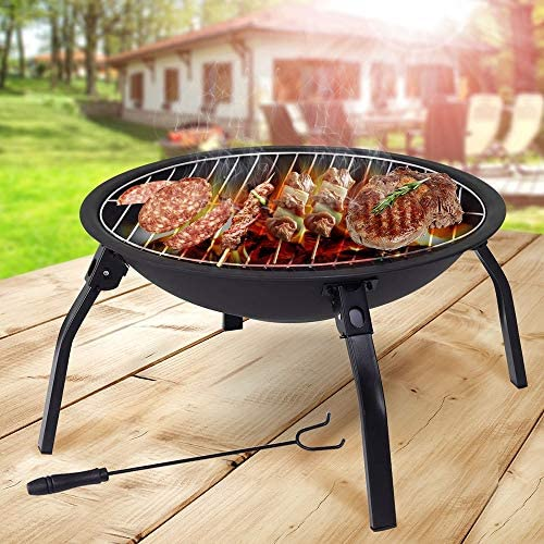 &yannaicun Grande Brasero Chauffage de terrasse de Jardin Pliante en Acier Grill Barbecue Bol de Camping avec Poker, Grille, Grille et Sac de Transport