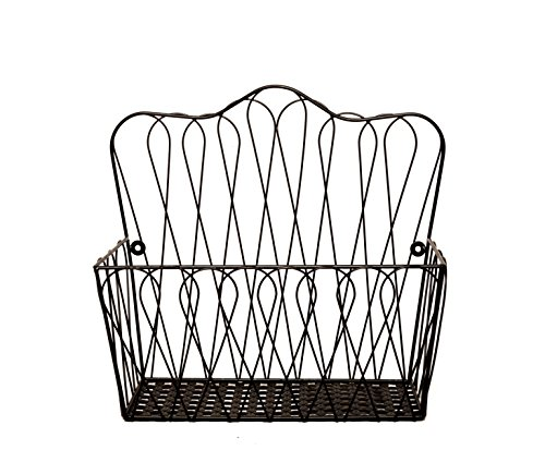 JMiles UH-HB236 Wall Mount Wire Basket for Magazines, Fruit, and Files - Wall Mounted or Freestanding Countertop Storage Basket for Paperwork, Fruits and Veggies, and more