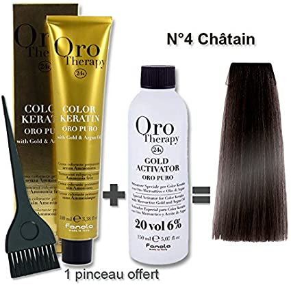 Oro Therapy - Lote de coloración para el cabello (tinte de 100 ml + oxidante de 20 volúmenes de 150 ml) - Color castaño (n.º 4)
