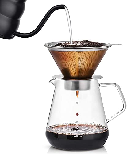 Soulhand Pour Over Coffee Brewer Pour Over Coffee Dripper 8 Cups Coffee Maker
