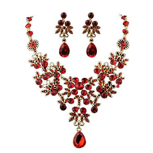 (Elegant Bridal Wedding Crystal Jewelry Sets,Advanced Prom Red Rhinestone Necklace & Earring)