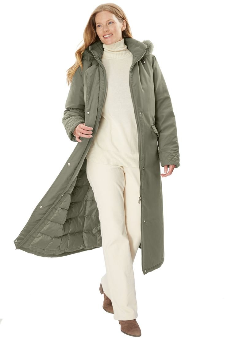Woman Within Women's Plus Size Coat Parka In Microfiber Olive Grey,2X
