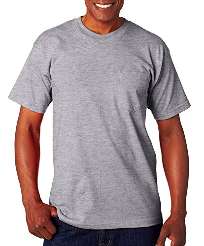 Bayside Adult Classic Style Heavyweight Pocket T-Shirt, Dark Ash, (Bayside Classic T-shirt)