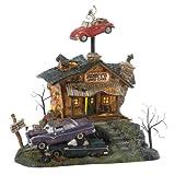 Department 56 Original Snow Village Halloween Rustys Used Cars Lit House