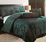 Rustic Turquoise Embroidery Star Western Luxury Comforter - 7 Pc Set (Oversized King)