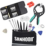 SANHOOII 38 in 1 Mobile Cell Phone Screen Opening Repair Plier Pry Disassemble Tools Kits Precision Durable Screwdriver Set+ESD Tweezers+Magnetizer For iPad, iPhone, Laptops, PC, Smartphones, Watches