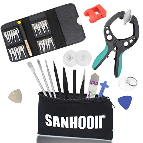 SANHOOII 38 in 1 Mobile Cell Phone Screen Opening Repair Plier Pry Disassemble Tools Kits Precision Durable Screwdriver Set+ESD Tweezers+Magnetizer For iPad, iPhone, Laptops, PC, Smartphones, Watches by Sanhooii