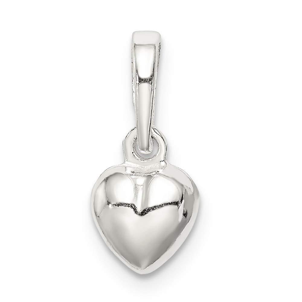 925 Sterling Silver Puffed Heart Pendant Love Charm Fashion