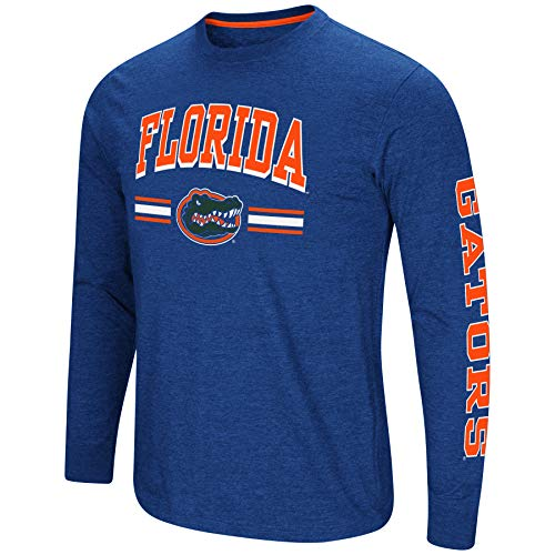 Colosseum Men's NCAA-Touchdown Pass- Dual Blend Long Sleeve T-Shirt-Florida Gators-Blue-Large