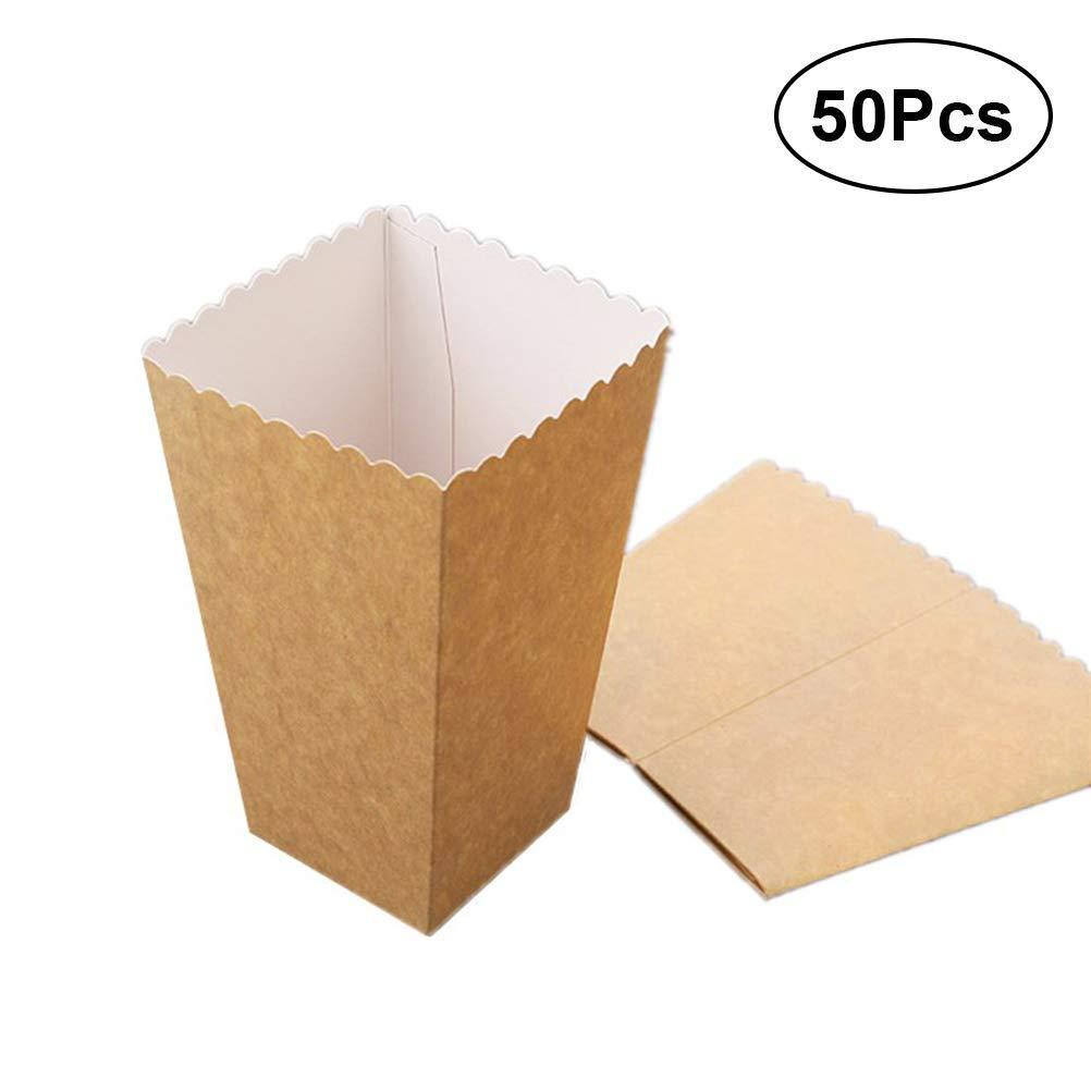 BESTOYARD 50pcs Contenitore di Popcorn di Carta Solido Caramella di Cerimonia Nuziale Cibo Borsa favori Decorazione Festa di Compleanno Forniture Formato 1