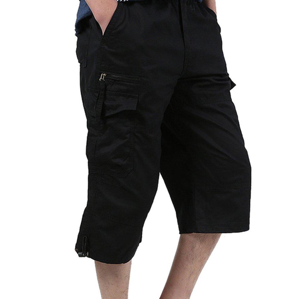 HTHJSCO Men's Casual Harem Training Jogger Sport Short Baggy Pants, Gym Workout Jogging Shorts Pants Sportswear (Black A, XXL)