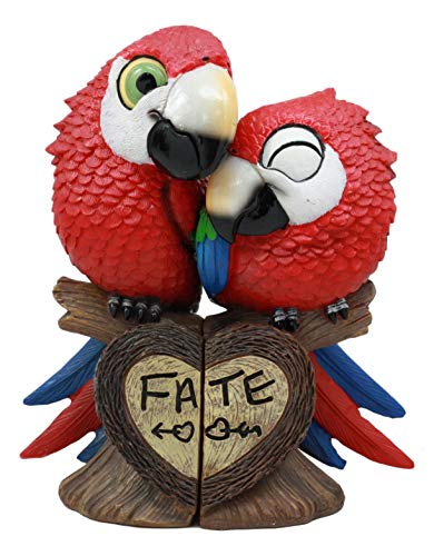 Ebros Tropical Rainforest Lovers Paradise Birds Scarlet Macaw Parrot Couple Statues Perching On Tree Branch Saying Fate Decorative Figurines Set As Anniversary Valentine's Day Ideas