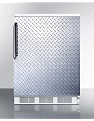Summit FF6LDPL Refrigerator, Silver With Diamond Plate