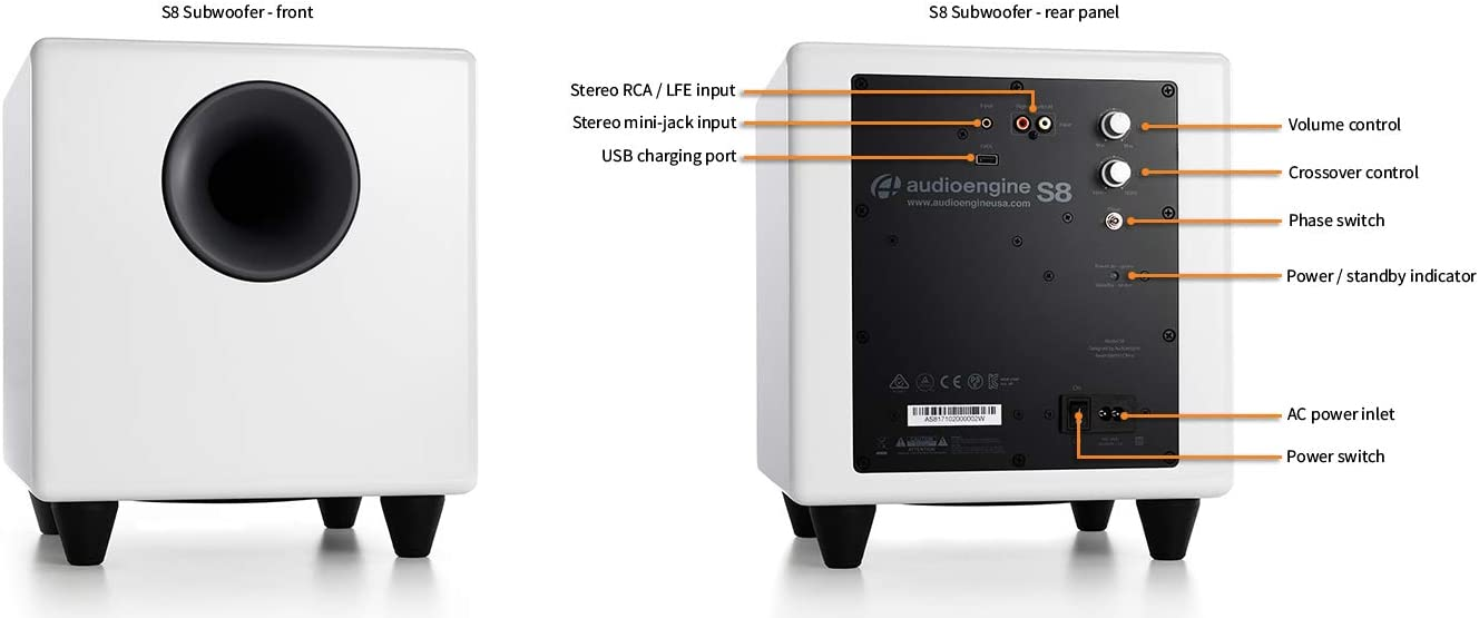 Cinch- und 3,5mm-Klinken-Eing/änge Kabel inclusive White Eingebauter Verst/ärker Audioengine S8 250W Aktiver Subwoofer