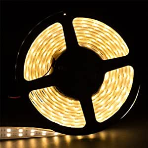 Pysical 5M 16.4ft 5050 Double Row SMD 600 leds Warm White Tube Waterproof LED Flexible Strip Light 12V Double Strips