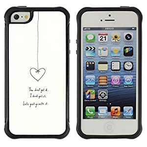 All-Round Hybrid Rubber Case Hard Cover Protective Accessory Compatible with Apple iPhone 5 & 5S - heart love relationship white minimalist