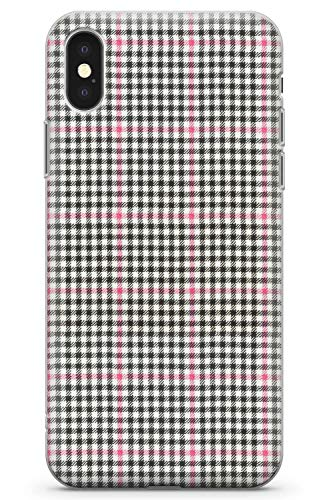 (Case Warehouse iPhone 10 Case, iPhone X Case, Cute Pink Gingham Phone Case Clear Ultra Thin Lightweight Gel Silicon TPU Protective Cover | Fashion Checkered Buccleuch Tartan Scottish)