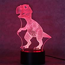 Naladoo 1Pcs 3D Illusion Visual Colorful Dinosaur Night Light 7 Colors Change LED Desk Lamp Bedroom Home Decor
