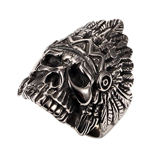 PAURO Cool Feather Dayak Indian Headdress Punk Skull Stainless Steel Mens Boys Ring Size 9