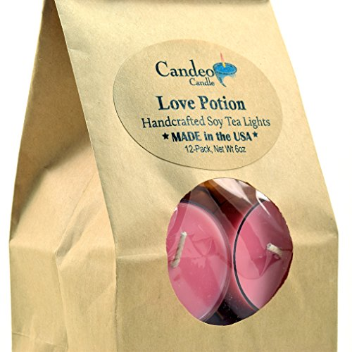 - Love Potion, Scented Soy Tealights, 12 Pack Clear Cup Candles