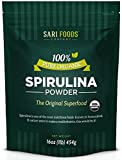 Pure Organic Spirulina Powder (16 ounce): Natural Vegan Folate, Vitamin B12, Iron, Omega Oils, GLA, Beta Carotene, Chlorophyll, Amino Acids and 65% Protein