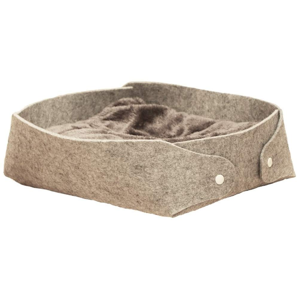 Jian E -  Pet Nest - Rimovibile e Lavabile Four Seasons Cat Litter Cat Sacco a Pelo Cat Mat Felt Nest Grigio Freddo + Grigio Carbonio Grigio Bifacciale  -  (colore   C, Dimensioni   40CMX33CM)