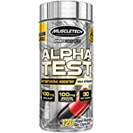 MuscleTech Pro Series AlphaTest Testosterone Booster for Men, Max-Strength, 120 Rapid-Release Capsules