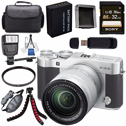 Fujifilm X-A3 Digital Camera w/16-50mm Lens (Silver) 16531635 + NP-W126 Lithium Ion Battery + 32GB SDHC Card + Carrying Case + Tripod + Flash + Card Reader + Memory Card Wallet Bundle