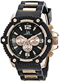 Joshua & Sons Men's JS94RG Black Multifunction Swiss Quartz Watch With Black Dial and Black and Rose Gold Silicone Strap