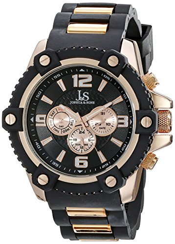 Joshua & Sons Men's JS94RG Black Multifunction Swiss Quartz Watch With Black Dial and Black and Rose Gold Silicone (Dial Black Silicone)