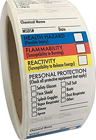 """SDS Stickers/MSDS Stickers, 1 5""""x2 5"""", Roll of 250, Right to Know -  Chemical Identifying and Marking, Self Adhesive"""
