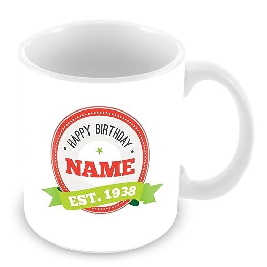 Feliz cumpleaños taza con nombre y año 1936 (80 años de edad ...