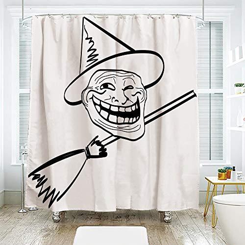 scocici Simple Creative Bath Curtain Suit Shade Curtain,Humor Decor,Halloween Spirit Themed Witch Guy Meme LOL Joy Spooky Avatar Artful Image,Black White,70.8