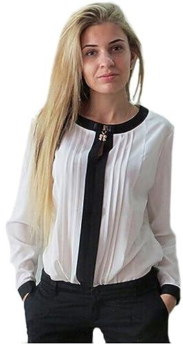 elegante manga larga despojado tamaño de las mujeres con clase elegante blanco y negro blusa 42, Tam...