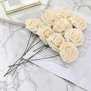 DerBlue 60pcs Artificial Roses Flowers Real Looking Fake Roses Artificial Foam Roses Decoration DIY for Wedding Bouquets Centerpieces,Arrangements Party Home Decorations 2