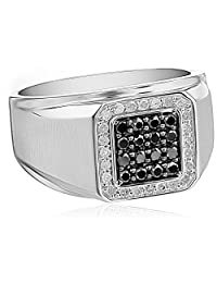 Men's 10k White Gold Black and White Diamond (3/4cttw) Ring, Size 10.5