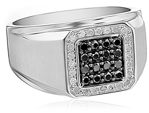 Mens-10k-White-Gold-Black-and-White-Diamond-34cttw-Ring-Size-105