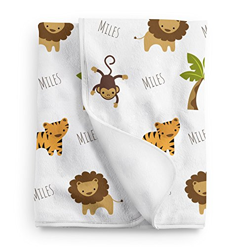 Personalized Fleece Jungle Animals Baby Blanket, Jungle Nursery -
