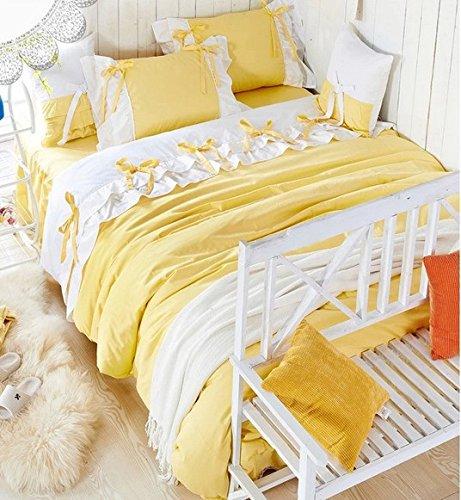 a1109ae5f8 Amazon.com: FADFAY Home Textile,Korean White Ruffle Queen Bedding Set,Lilac  Duvet Covers,Pink Purple Yellow Bedding Set,Cute Girls Princess Bedding Set:  ...
